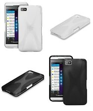 BLACKBERRY Z10 PHONE X-STYLE TPU TEXTURED GEL BACK COVER CASE + SCREEN PROTECTOR