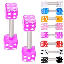 2P Dice barbell bar eyebrow piercing tragus straight ring 9ECS-SELECT COLOR&SIZE