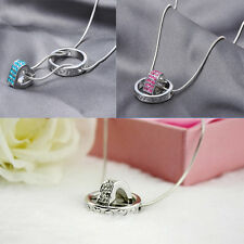 Heart Ring Rhinestone Crystal Necklace Pendant Love Xmas Gift For Daughter Wife