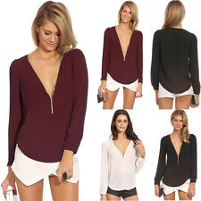 Fashion Sexy Women V-neck Zipper Long-sleeved Chiffon Blouse Shirt Tops Gorgeous