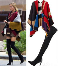 HOT!! Celebrity Blogger Style Large Tartan Blanket Cape Poncho Scarf Wrap Shawls