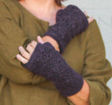 NIRVANNA DESIGNS  Fleece-Lined  HANDWARMERS  Floral Hand-Crocheted Wool  PRUNE