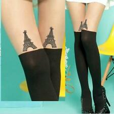 Spandex Sheer Semi-Opaque Paris Tower Eiffel Faux Stockings Pantyhose Tights