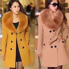 HOT Women's Wool Faux Fur Trench Parka Double-Breasted Winter Coat Jacket