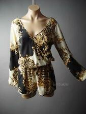 Posh Art Nouveau Scarf Leopard Print Wrap Top Dress Shorts 106 mv Romper S M L