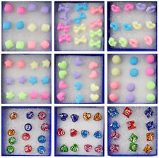 New Wholesale 6 Pairs Charm Earrings Stud Ear Candy Colors Cute Ear Studs