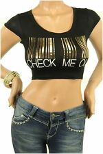 DEALZONE Beautiful CHECK ME OUT Decal Top S M L Small Medium Large Women Black