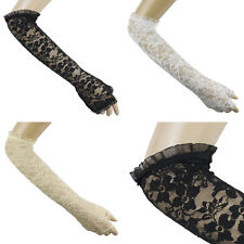 FLORAL LACE RUFFLE ELBOW FINGERLESS GLOVES ARMWARMERS #GV061-62