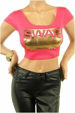 DEALZONE Gorgeous SWAG Decal Crop Top S Small Women Pink Casual Short Sleeve