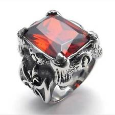 Stainless Steel Red Crystal Dragon Claw Men's Ring Size 7-13 New