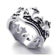 Vintage Crown Stainless Steel Unisex Mens Womens Ring, Silver and Black