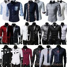 Hot Stylish Mens Sexy Formal Casual Slim Fit Dress Shirt Long Sleeve T-shirt Top