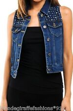 Blue Denim Rhinestone Bead Embellished Button Front Cropped Vest S/M/L