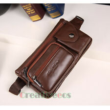 Men Vintage Genuine Leather Messenger Shoulder Fanny Pack Waist Chest Bag Pouch