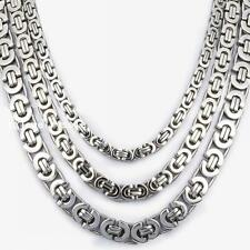 Stainless Steel Silver Tone Men's Flat Byzantine Link Chain Necklace 6/8/11mm