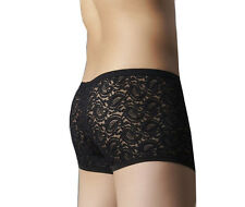 Mens See-Through Transparent Sexy Lace Underwear Briefs Shorts Bottoms Black