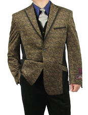 SHARP MEN 3pc. 2B 100% VELOUR PAISLEY SUIT W/REV. VEST TAUPE 38R-62L hs8v $499+