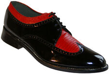 Stacy Baldwin Wingtip Oxford Black and Red Patent Leather Tuxedo Shoes