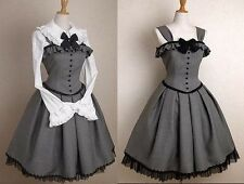 j50 women gothic lolita jumper grey dress victorian costume cosplay lace up gray