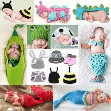 12 Types Baby Newborn Aminal Photography Prop Crochet Knit Beanie Costume EA