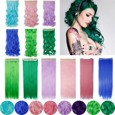 Christmas Gift 3/4 Full Head Clip in Hair Extensions Long Pink Purple Blue AG