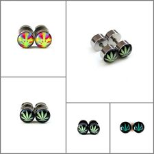Fake Ear Plugs Cheater Gauges 8mm Face 60s Tie Dye Marijuana Chronic Leaf  IW