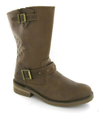New Womens Caterpillar Brandy Brown Biker Style Leather Ankle Boots Size 4 UK