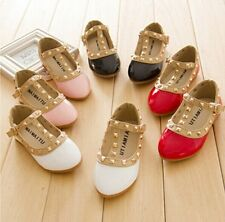 NEW Kids Girls Sandals Buckle Princess Rivet T-strap Flats Pointed Toe Shoes