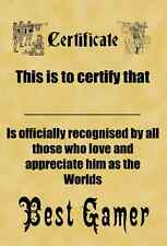 A4 Parchment Certificate Personalised Worlds Best  GAMER - Greetings Available