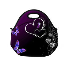 Butterfly Heart Neoprene Lunch Tote Bag Picnic Bag Thermal Insulated Cooler Box