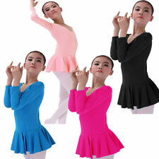 Girl Kid Ballet Leotard Long Sleeve Dancewear Tutu Tights Gymnastic Dress 3-14Y