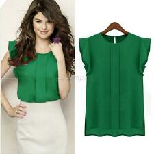 Korean Women Chiffon Ruffle Short Sleeve Shirt Round Neck Blouse Tops Solid  B92