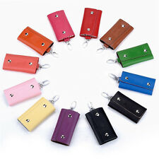 Genuine Cow Leather Key Chain Ring Accessory Case Holder Pouch Bag Purse Wallet