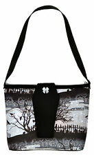 Cemetery GRAVEYARD PURSE w/ COFFIN FLAP Halloween psychobilly horror cats ravens