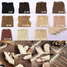 """Straight 18""""20""""22"""" 50s 100s Loop Micro Ring Beads Tipped Human Hair Extensions"""