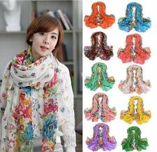 Hot Sale Flowers Warm Soft Voile Scarf Wrap Shawl Stole Chiffon Neck Wrap Women-