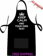 Keep Calm Personalized Custom Apron / Funny Screen Printing /  BBQ Gift Own Text