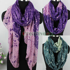Simple Cute Cartoon Animals& Flowers Print Long Scarf/Infinity 2-Loop Scarf Wrap