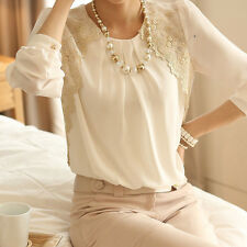 Office Lady Vintage Embroidery Lace Pleated sheer Long Sleeve chiffon Blouse Hot