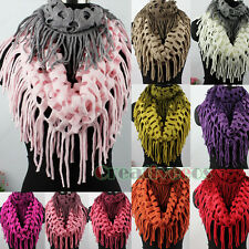 Hollow Out Net Tassel 2-Tone Knit Shawl Infinity 2-Loop Cowl Circle Scarf New