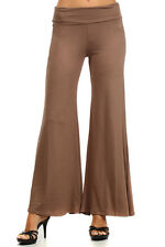 New Made in USA taupe rayon & stretch PALAZZO S M L  Long Wide Leg Pants