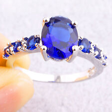 Charming Jewelry Oval Cut Sapphhire Quartz Gemstones Silver Ring Size 6 7 8 9