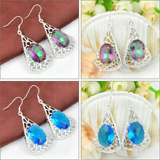 Newest Gorgeous Oval Rainbow Mystic Topaz Blue Topaz Ggemstone Silver Earrings