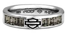 Harley-Davidson Women's Ring, Black Ice Crystals Bar & Shield Band HDR0360