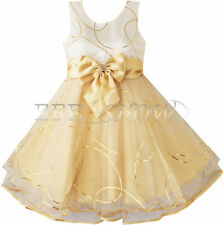 CHRISTMAS XMAS BOW FLOWER GIRL DRESS WEDDING BRIDESMAID PAGEANT PARTY DRESSES