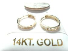 PURE SOLID GOLD Cubic Zirconia Baby/Infant Huggie Earrings.10 or 14KT SOLID GOLD