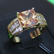 Size 9-13 Classic Jewelry Mens Champagne Topaz Yellow Gold Filled Band Huge Ring