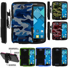 Alcatel Pop Icon 7040T Rugged Tough Duty Hybrid Dual Layer Holster Case Cover