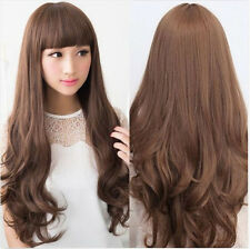 Hot Women Fashion Lady Long Brown Wavy Curly Hair Cosplay Party Full Wig Wigs