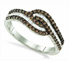 Stunning .925 Silver Chocolate Brown & White Round & Baguette Diamond Ring .52ct